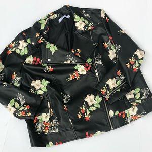 JustFab Jackets & Coats - Floral Print Moto Jacket